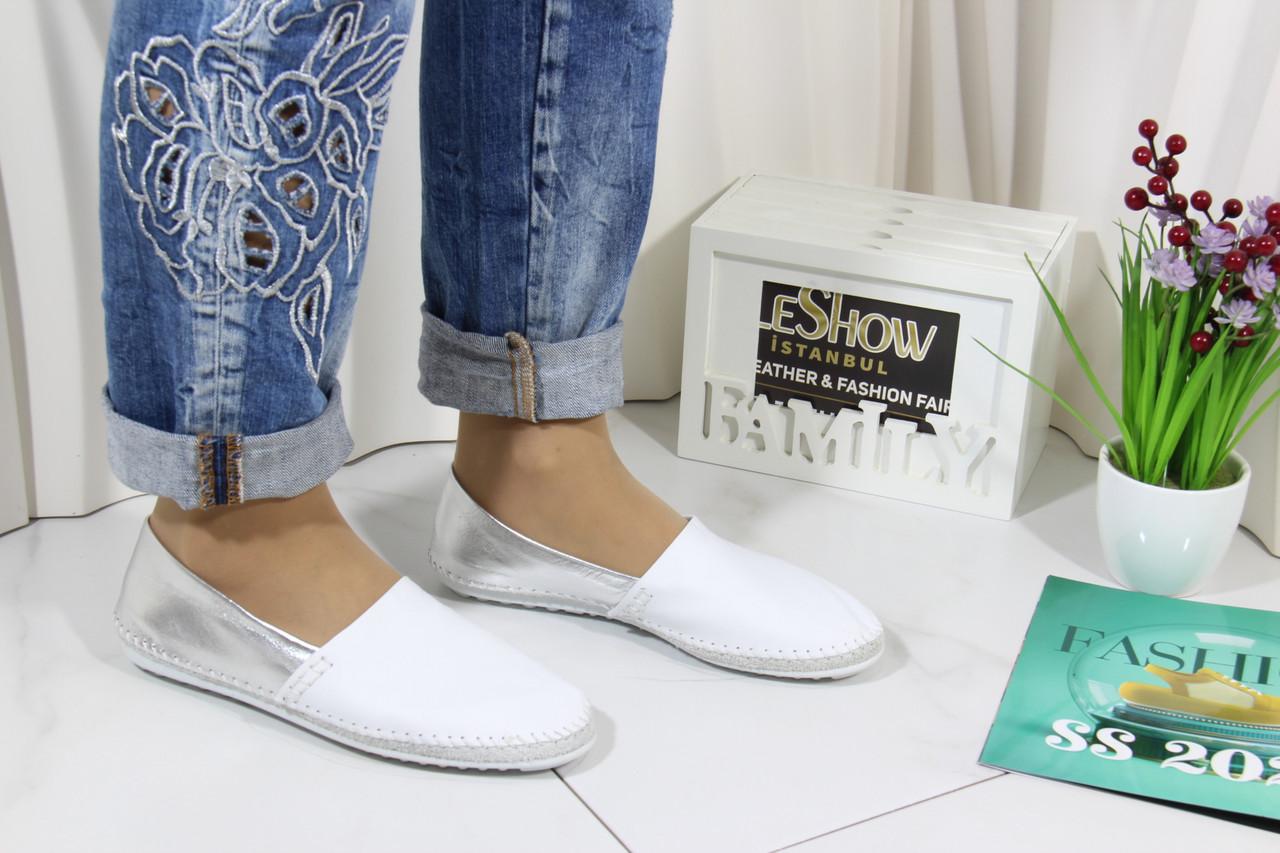 Женские кожаные мокасины Marcha 101-white