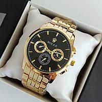 Мужские наручные часы Rolex (ролекс), золотые с черным циферблатом - код 1898, фото 1