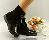 Женские модные замшевые ботиночки с бантиком и лаковой вставкой. АРТ-0134