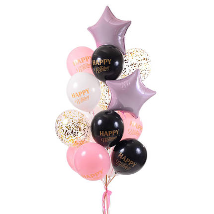 Связка Happy Birthday с розовыми звездами и шариками с конфетти, фото 2
