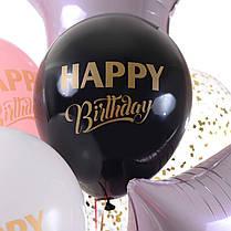 Связка Happy Birthday с розовыми звездами и шариками с конфетти, фото 3