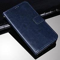 Чехол Fiji Leather для Tecno Spark 4 Lite книжка с визитницей темно-синий