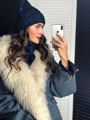 Женская шапка на подкладке и бафф Sweetty blue