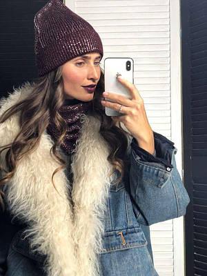 Женская шапка на подкладке и бафф Sweetty марсала