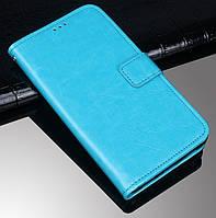 Чехол Fiji Leather для Tecno Spark 4 Lite книжка с визитницей голубой