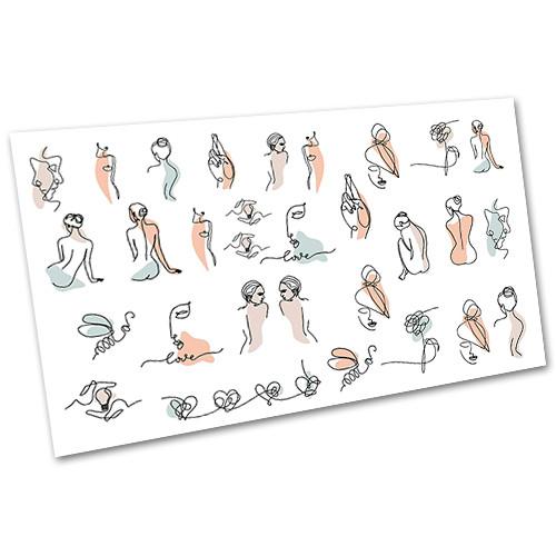 Слайдер-дизайн наклейки на нігті для манікюру водні Лінійні силуети №2107