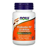 Пробиотики для пищеварения Probiotic-10 25 Billion Now Foods 50 растительных капсул