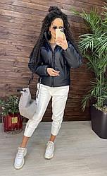 Жіноча куртка з шкірозамінника демісезонна