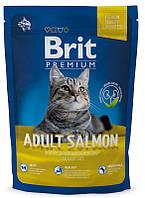 Сухой корм Brit Premium Cat Adult Salmon Брит Премиум для взрослых кошек с лососем в соусе, 1,5 кг,  170361
