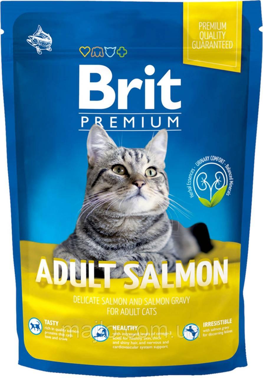 Сухой корм Brit Premium Cat Adult Salmon Брит Премиум для взрослых кошек с лососем в соусе, 800 г,  170360