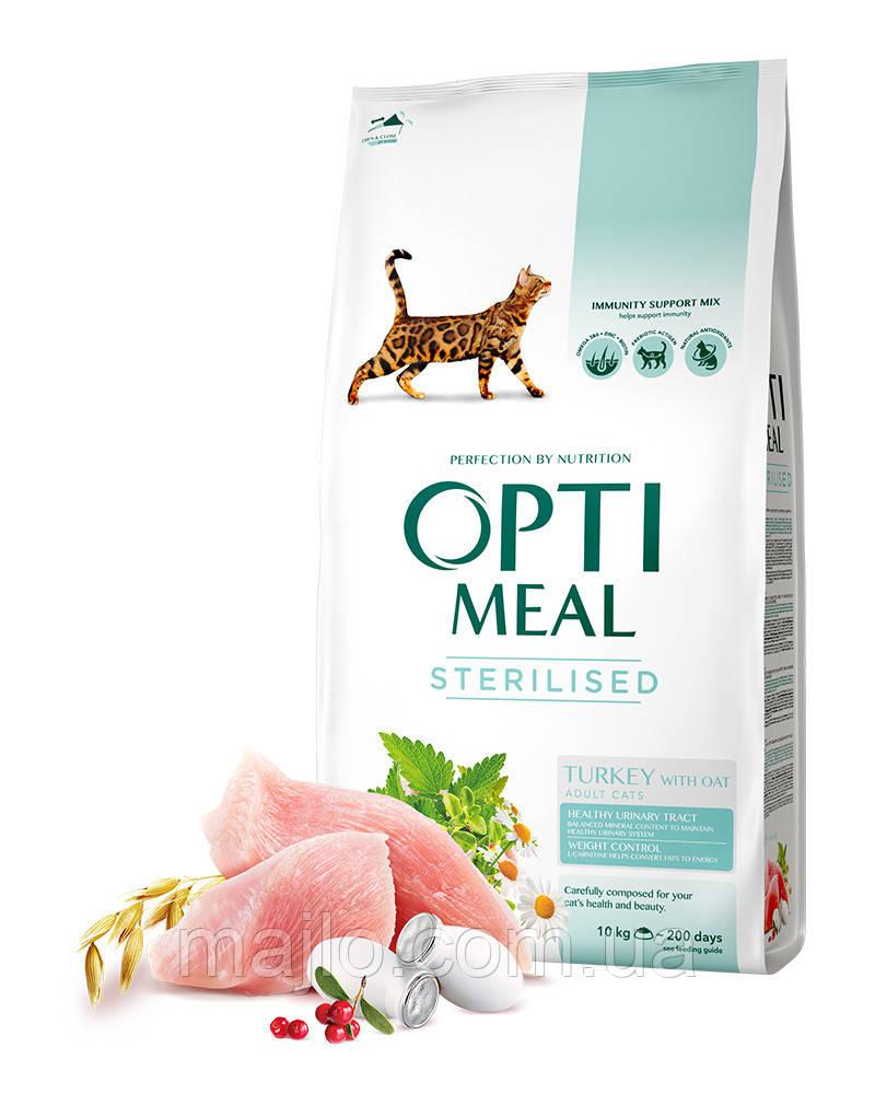 Сухой корм Opti Meal Adult Cat Sterilised  для стерилизованных кошек и кастрированных котов - индейка и овес