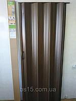 Двері-гармошка ширма Каштан 820х2030х0,6 мм №14 розсувні міжкімнатні пластикова глуха