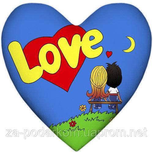 Подушка серце Love, синя