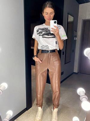 Женские брюки из эко-кожи Darsi brown