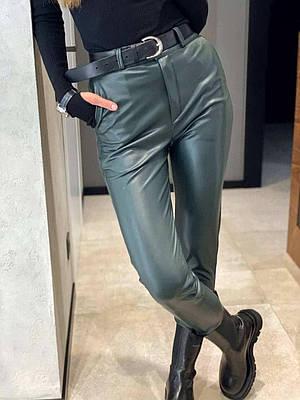 Женские брюки из эко-кожи Fleece green