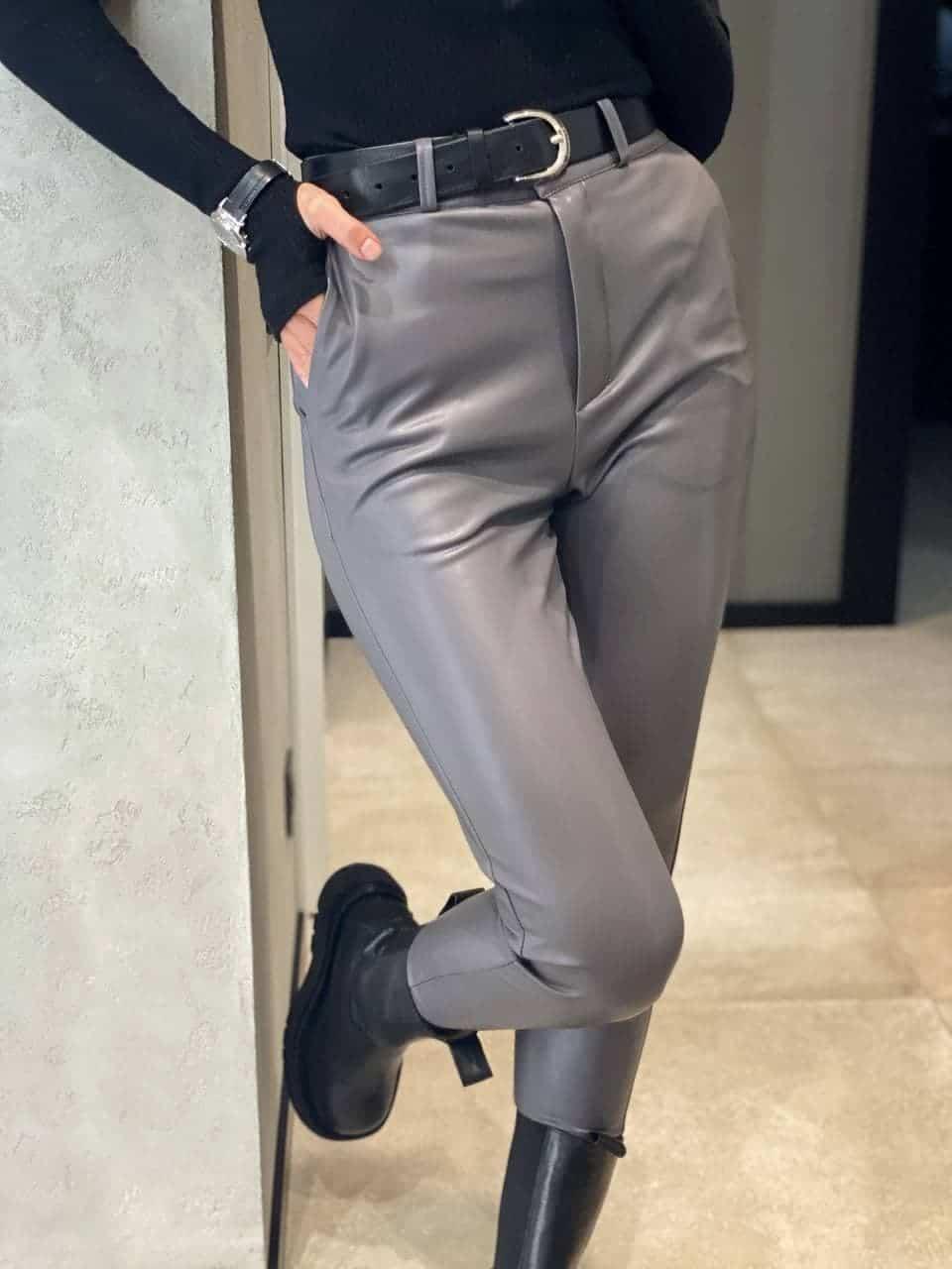 Жіночі брюки з еко-шкіри Fleece grey