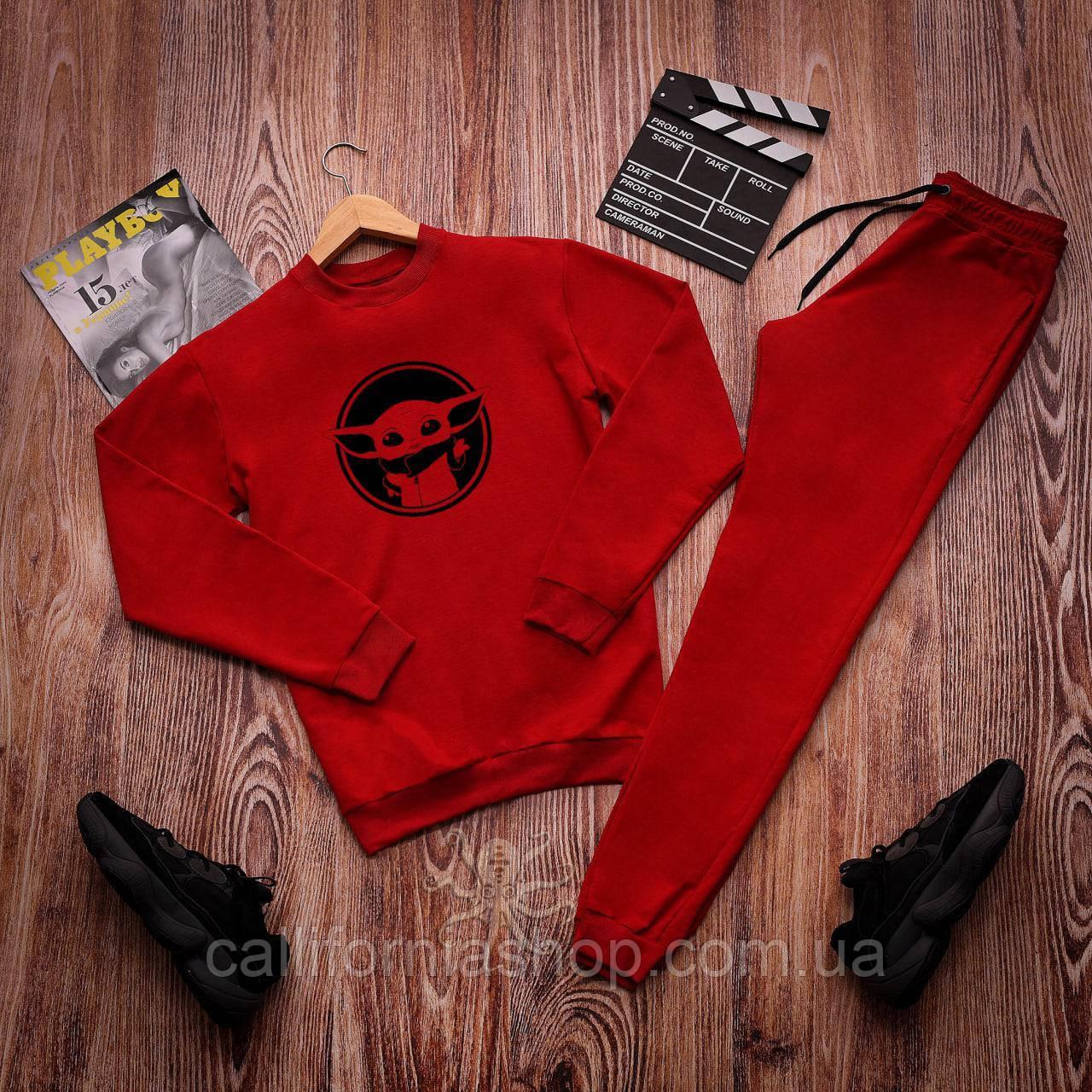 """Спортивний костюм чоловічий червоний з принтом маленький """"Йода"""" легкий двунитка"""