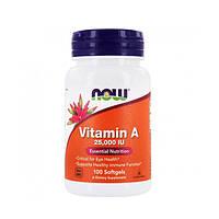 Витамин А (Vitamin A) 25,000 МЕ ТМ Нау Фудс / Now Foods 100 желатиновых капсул