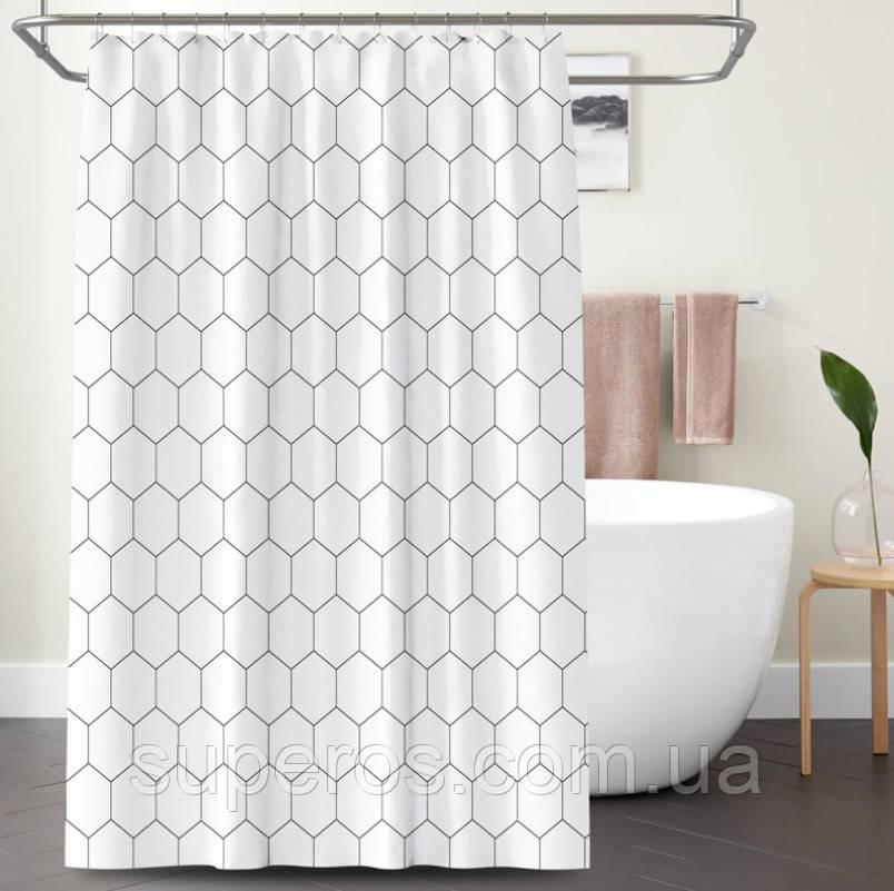 Тканинна шторка для душа 180х200 см White cell