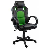 Кресло игровое мягкое геймерское для компьютера с подголовником для правильной осанки зеленое