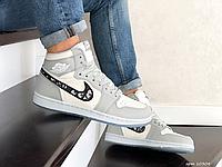 Чоловічі шкіряні кросівки Nike Air Dior, білі з сірим, фото 1