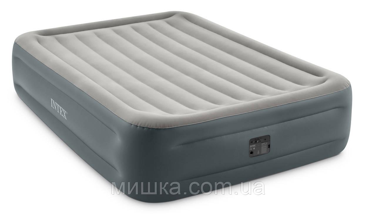 Надувне ліжко 203*152*46 см двоспальне з вбудованим насосом Intex 64126