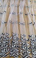 """Гардина чорно-біла на фатині з вишикою """"метелики"""", фото 1"""