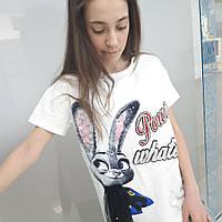 Стильна футболка для дівчинки підлітка з зайчиком колір білий