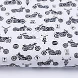 """Клапоть тканини """"Мотоцикли"""" чорні на білому фоні (№3142), розмір 30*80 см, фото 2"""