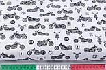 """Клапоть тканини """"Мотоцикли"""" чорні на білому фоні (№3142), розмір 30*80 см, фото 3"""
