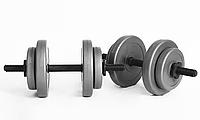 Розбірні гантелі WCG GREY 2 по 8 кг для домашніх тренувань (Набірні пластикове покриття гантелі для дому), фото 1