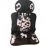Портативное бескаркасное детское автокресло черно-белое (корова), фото 2