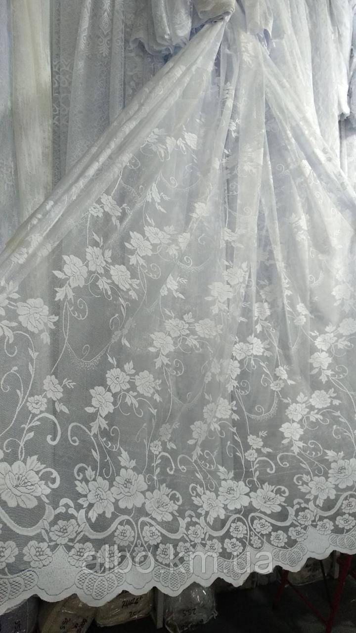Жакардова тюль з квіткою біла., висота 2,8 ( 172 )