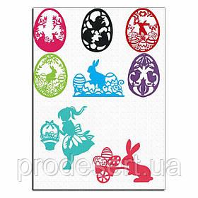 Девочка и Пасхальные кролики вафельная картинка