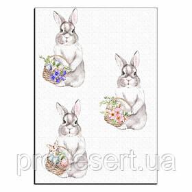 Кролики с корзинками вафельная картинка