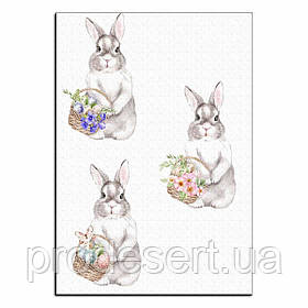 Кролики з кошиками вафельна картинка