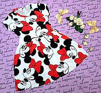 Детское платье Микки с коротким рукавом р. 3-8 лет