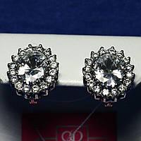 Серебряные серьги с крупным фианитом 2885, фото 1