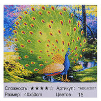 Картина по номерам + Алмазная мозаика Павлин