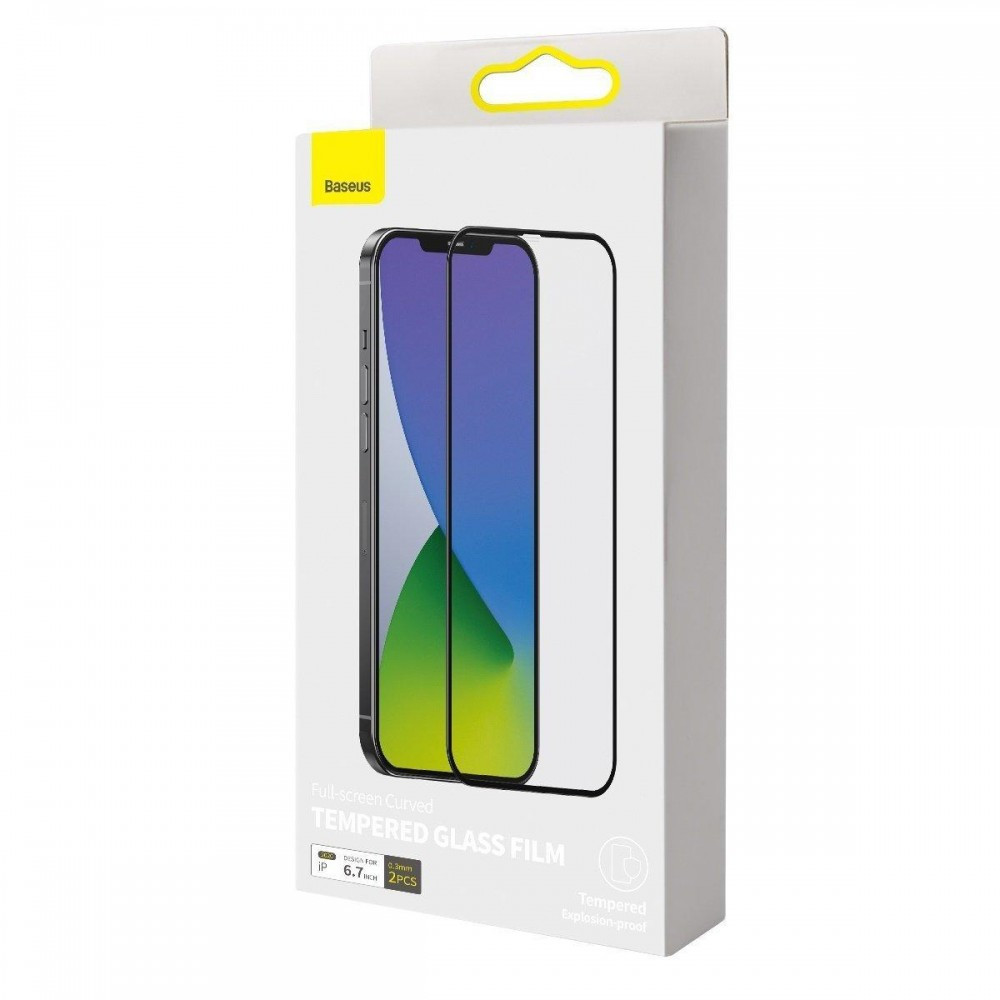 Защитное стекло Премиум BASEUS 0.3MM FULL-SCREEN & FULL-GLASS (2PCS PACK+PASTING ARBLACK) iPhone 12 mini