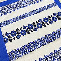 Вафельное полотенце украинское с голубыми цветами 45х70 см, фото 1