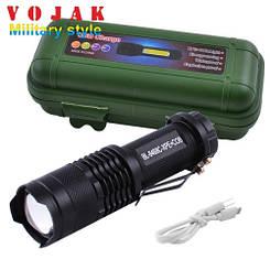 Фонарь POLICE 8468-XPE+COB, micro USB, встроенный аккумулятор, zoom