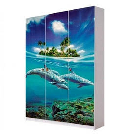 Шкаф в детскую комнату из ДСП Мульти 3Д Дельфины Світ меблів