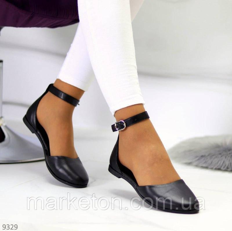 """Женские кожаные босоножки закрытые на низком ходу Черные """"BleХ"""""""