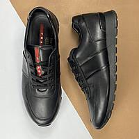 Мужские кожаные кроссовки Prada (Прада) арт. 42-08