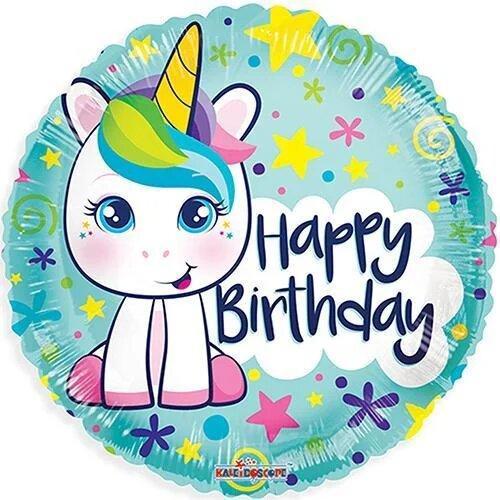 """Фол куля 18"""" Коло Happy Birthday Милий єдиноріг на блакитному (Китай)"""