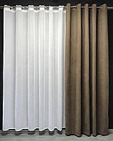 Готовая штора на кольцах люверсах микровелюр 200x270 cm (1 шт) ALBO Кофейная (SH-Petek-193), фото 3