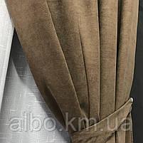 Готовая штора на кольцах люверсах микровелюр 200x270 cm (1 шт) ALBO Кофейная (SH-Petek-193), фото 8
