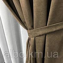 Готовая штора на кольцах люверсах микровелюр 200x270 cm (1 шт) ALBO Кофейная (SH-Petek-193), фото 5