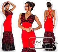 Нарядное вечернее длинное платье в пол с открытой спиной